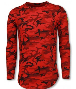 Berry Denim Leger Print Borduur Shirt - Long Sleeve T-shirt - Rood