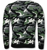 John H Military Trui - Camouflage Pullover - Groen