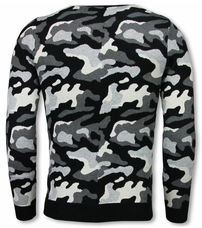 John H Military Trui - Camouflage Pullover - Grijs