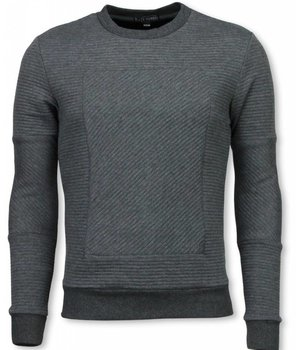 Black Number 3D Ribbel Square Crewneck - Sweater - Grijs