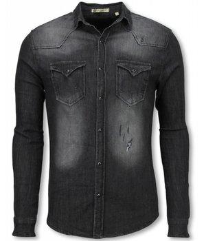 Enos Denim Overhemd - Slim Fit Lange Mouwen Heren - Washed - Grijs