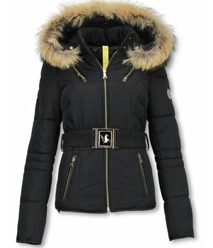 Milan Ferronetti Bontjassen - Dames Winterjas Kort - Sorento Edition - Zwart