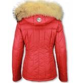 Milan Ferronetti Winterjassen - Dames Winterjas Kort - Beads Edition - Rood
