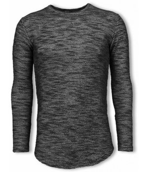 © MAN Gemeleerde Shirt - Long Fit Sweater - Zwart