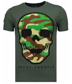 Local Fanatic Army Skull - Rhinestone T-shirt - Groen