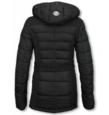 Milan Ferronetti Winterjassen - Dames Winterjas Halflang - Black On Black Edition - Zwart