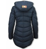 Milan Ferronetti Winterjassen - Dames Winterjas Lang - Gestikt - Country Edition - Blauw