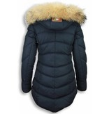 Milan Ferronetti Bontjassen - Dames Winterjas Lang - Gestikt - Country Edition - Blauw