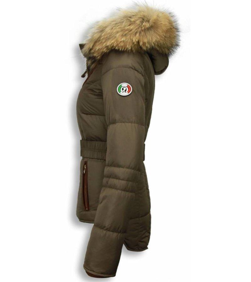 Milan Ferronetti Winterjassen - Dames Winterjas Kort - 4 Zakken - Bruin