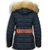 Milan Ferronetti Winterjassen - Dames Winterjas Halflang - Gestikt - Grote Gesp - Blauw