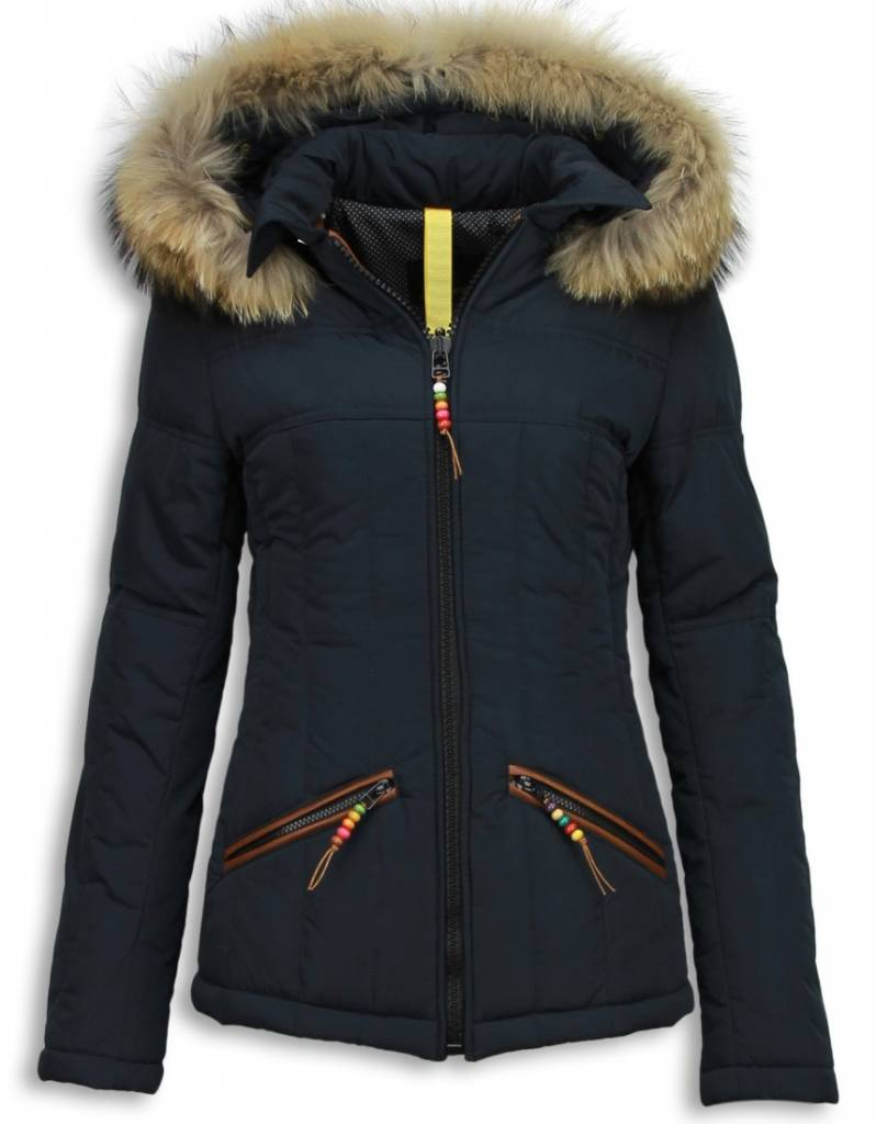 Winterjassen - Dames Winterjas Kort - Beads Edition - Blauw
