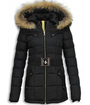 Milan Ferronetti Bontjassen - Dames Winterjas Halflang - Black On Black Edition - Zwart