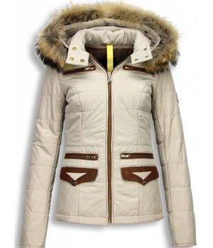 Milan Ferronetti Bontjassen - Dames Winterjas Kort- Xtra Pocket Edition - Beige