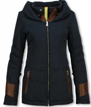 Milan Ferronetti Winterjassen - Dames Winterjas Halflang - Regular Slim - Fit Edition - Blauw