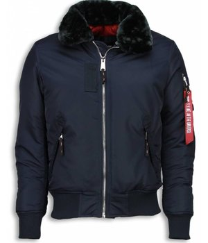 Gov-Denim Casual Piloten Jack Heren - Bomber Jack - Navy