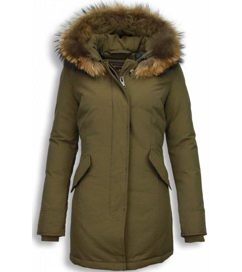 MATOGLA Bontjassen - Dames Winterjas Wooly Lang - Bontkraag - Parka - Khaki