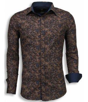 Gentile Bellini Italiaanse Overhemden - Slim Fit Blouse - Camouflage - Bruin