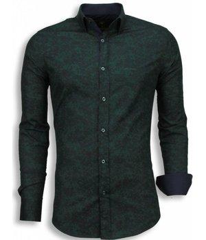 Gentile Bellini Italiaanse Overhemden - Slim Fit Blouse - Camouflage - Groen