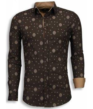 Gentile Bellini Italiaanse Overhemden - Slim Fit Blouse - Mozaiek Pattern - Bruin