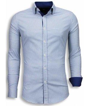 Gentile Bellini Italiaanse Overhemden - Slim Fit Blouse - Bijenkorf Pattern - Blauw