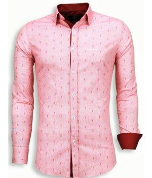 Gentile Bellini Italiaanse Overhemden - Slim Fit Blouse - Draad Pattern - Rood