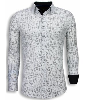 Gentile Bellini Italiaanse Overhemden - Slim Fit Blouse - Leaves Pattern - Wit
