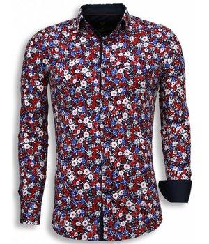 Gentile Bellini Italiaanse Overhemden - Slim Fit Blouse - Bouquet Pattern - Blauw
