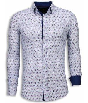 Gentile Bellini Italiaanse Overhemden - Slim Fit Blouse - Daisy Pattern - Wit