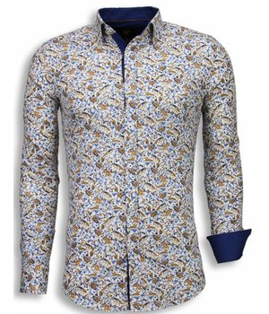 Gentile Bellini Italiaanse Overhemden - Slim Fit Blouse - Autumn Pattern - Wit