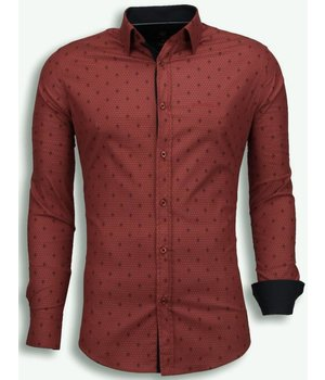 Gentile Bellini Italiaanse Overhemden - Slim Fit Blouse - French Lelie Pattern - Bordeaux