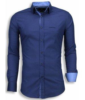 Gentile Bellini Italiaanse Overhemden - Slim Fit Blouse - Wire Fence Pattern - Blauw