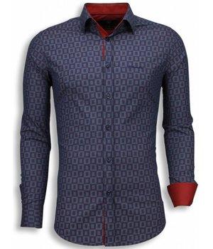 Gentile Bellini Italiaanse Overhemden - Slim Fit Blouse - Scale Pattern - Paars