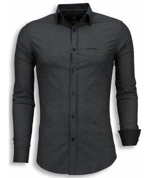 Gentile Bellini Italiaanse Overhemden - Slim Fit Blouse - Scale Pattern - Grijs