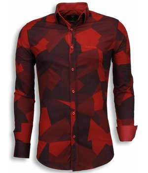Gentile Bellini Italiaanse Overhemden - Slim Fit Blouse - Modern Army Pattern - Rood