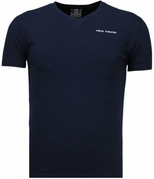Local Fanatic Basic Exclusieve V Neck - T-Shirt - Blauw