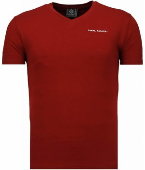 Local Fanatic Basic Exclusieve V Neck - T-Shirt - Bordeaux