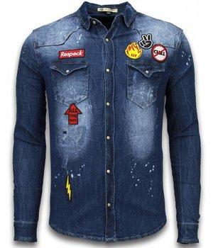 Enos Denim Shirt - SpijkerBlouse Slim Fit Long Sleeve - Embroidery - Blauw
