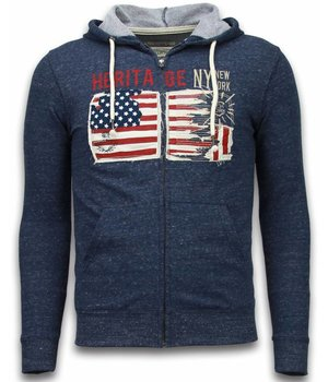 Enos Casual Vest - Embroidery American Heritage - Blauw