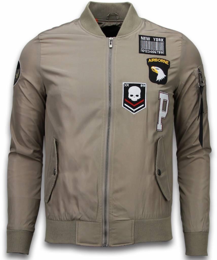 BomberJack Heren - Exclusive Airborne Patches - Beige