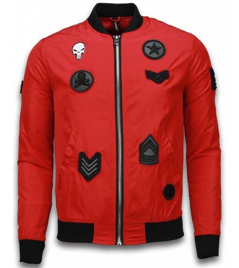 Maximal bomberjack heren military skull patches rood for Bomberjack heren