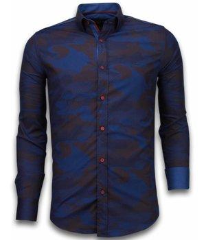 Gentile Bellini Italiaanse Overhemden - Slim Fit Overhemd - Blouse Army Lined Pattern - Bordeaux