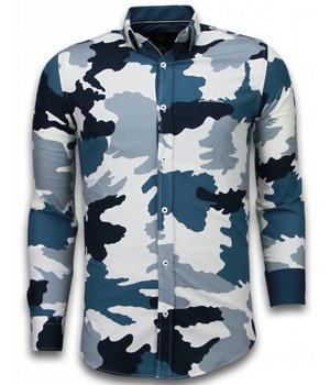 Gentile Bellini Italiaanse Overhemden - Slim Fit Overhemd - Blouse Classic Army Pattern - Blauw