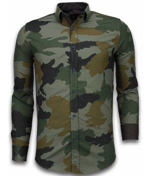Gentile Bellini Italiaanse Overhemden - Slim Fit Overhemd - Blouse Classic Army Pattern - Groen