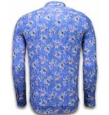 Gentile Bellini Italiaanse Overhemden - Slim Fit Overhemd - Blouse Woven Flowers Pattern - Blauw