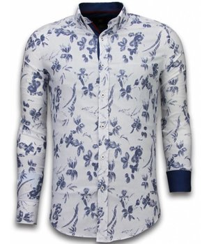 Gentile Bellini Italiaanse Overhemden - Slim Fit Overhemd - Blouse Hawaii Pattern - Wit