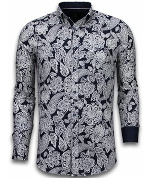 Gentile Bellini Italiaanse Overhemden - Slim Fit Overhemd - Blouse White On Navy Flower Pattern - Navy