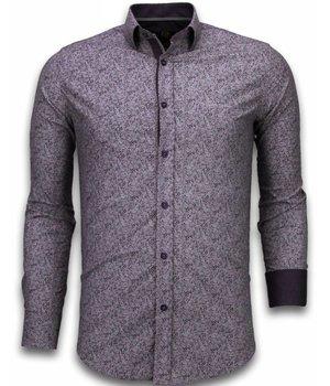 Gentile Bellini Italiaanse Overhemden - Slim Fit Overhemd - Blouse Purple Flower Pattern - Paars