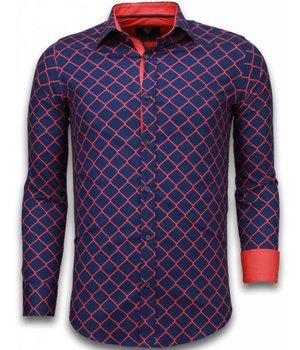 Gentile Bellini Italiaanse Overhemden - Slim Fit Overhemd - Blouse Wide Wire Fence - Blauw
