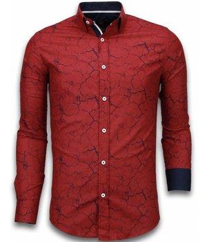 Gentile Bellini Italiaanse Overhemden - Slim Fit Overhemd - Blouse Marble Pattern - Bordeaux