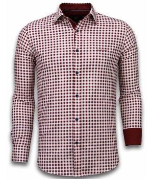 Gentile Bellini Italiaanse Overhemden - Slim Fit Overhemd - Blouse Garment Pattern - Rood